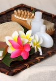Tropical Day Spa Beauty Products. Close of pink, yellow and white frangiapani / plumeria flower with day spa beauty products on leaf and woven bamboo matt Stock Photography