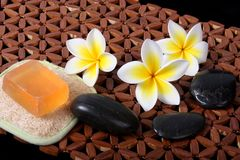 Tropical Day Spa Beauty Products. Close of yellow and white frangiapani / plumeria flower with day spa beauty soap, loofah and river stones Stock Images