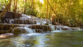 Tropical deep forest waterfall. Natural landscape background stock photo