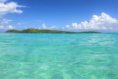 Tropical desert island and Caribbean Sea Royalty Free Stock Photography