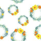 Tropical plants, exotic flowers and leaves seamless pattern on a white background. Vector illustration. Tropical lilies. Tropical design border circle frame stock illustration