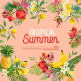 Tropical Design with Exotic Fruits. Summer Composition with Pineapple, Banana and Palm Leaves for Fabric, T-shirt Stock Photography