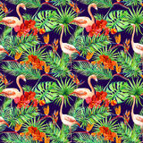 Tropical design: exotic leaves, flamingos, orchid flowers. Seamless pattern. Watercolor Stock Photos