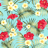 Tropical design for fabric swatch. Topical palm leaves and beautiful plumeria flowers on seamless patten over blue background. Vector illustration Stock Images