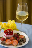 Tropical dessert of strawberries and champagne Stock Photography
