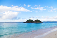 Tropical destination at Trunk Bay beach, St John Island. Quiet waters and wonderful white sand of the popular beach in the National Park of St John Island Royalty Free Stock Photos