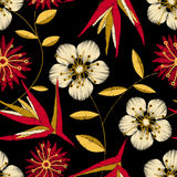 Tropical detailed embroidery floral design in a seamless pattern vector illustration