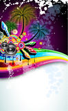 Tropical Disco Dance Background. With music and fantasy design elements royalty free illustration