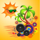 Tropical disco dance background with speakers Stock Photos