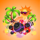 Tropical disco dance background with speakers Royalty Free Stock Photography