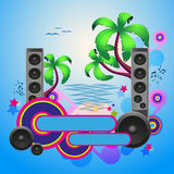 Tropical disco dance background with speakers Royalty Free Stock Image