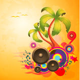 Tropical disco dance background with speakers Stock Images