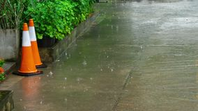 Tropical downpour outdoors. Tropical downpour in the courtyard of the hotel, Phuket Thailand stock footage