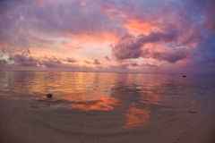 Tropical Dream Beach Sunset. Of the South Pacific on the Cook Islands stock image