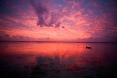 Tropical Dream Beach Sunset. Of the South Pacific on the Cook Islands royalty free stock photos