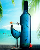 Tropical dream paradise island underwater world in the bottle. Illustration tropical dream paradise island underwater world in the bottle. Traveling, weekend Stock Image