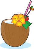 Tropical Drink. In a coconut with a hibiscus Royalty Free Stock Photography