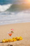 Tropical Drink on Beach Shoreline Stock Images