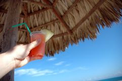Tropical drink in Cuba. With pinapple in it under an umbrella made with dried palm tree leaves.  Focus on the drink Royalty Free Stock Photos