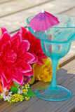 Tropical Drink on dock. Tropical drink on beach dock by bouquet royalty free stock image