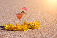 Tropical Drink and Flower Lei on Beach Shoreline Stock Photography