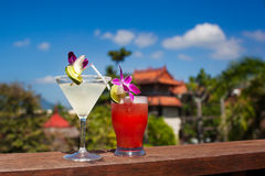 Tropical Drink - Margarita and Mai Tai. Mai Tai and Margarita, with a tropical resort and palm tree in the background Stock Images