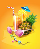 Tropical Drink, Pineapple, Sunglasses and Beads Stock Photo