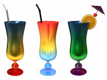 Tropical Drinks. Three exotic colored tropical fruit drinks isolated on white Stock Photos