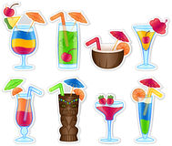 Tropical Drinks. Colorful tropical drink illustrations. Can be used as icons or stand alone elements vector illustration
