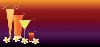 Tropical Drinks Banner. Alcoholic drinks with frangipani flowers Royalty Free Stock Photo