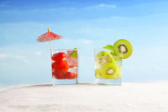 Tropical drinks on the beach Royalty Free Stock Photo