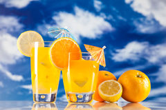 Tropical drinks on beach Royalty Free Stock Image