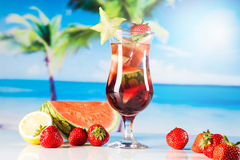 Tropical drinks on beach Royalty Free Stock Photo