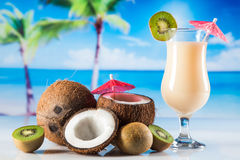 Tropical drinks on beach royalty free stock images