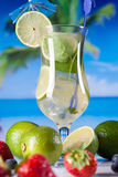 Tropical drinks on beach stock images