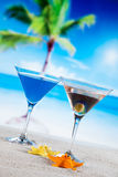 Tropical drinks on beach Royalty Free Stock Photography