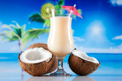 Tropical drinks on beach Stock Photos