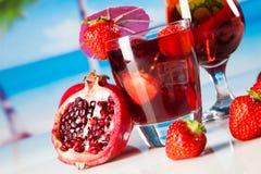 Tropical drinks on beach Stock Photos