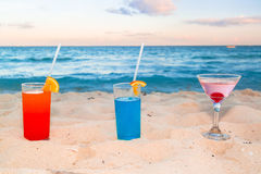 Tropical drinks at the caribbean beach Stock Image