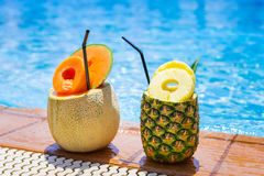 Tropical drinks at the pool Stock Photo