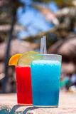 Tropical drinks at the swimming pool Stock Photos