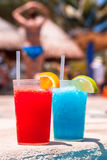 Tropical drinks at the swimming pool Royalty Free Stock Photography