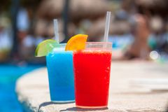 Tropical drinks at the swimming pool Royalty Free Stock Photo