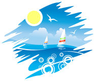 Tropical  Emblem with Windsurfers Stock Photography