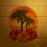 Tropical emblem on wood Royalty Free Stock Photos
