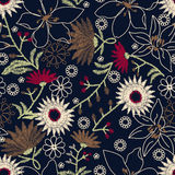 Tropical embroidery floral design in a seamless pattern royalty free illustration
