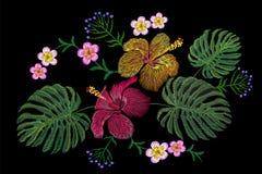 Tropical embroidery flower arrangement. Exotic plant blossom summer jungle. Fashion print textile patch. Hawaii hibiscus plumeria. Monstera  illustration art Stock Photos