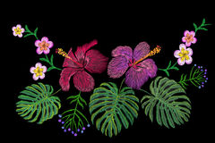 Tropical embroidery flower arrangement. Exotic plant blossom summer jungle. Fashion print textile patch. Hawaii hibiscus plumeria. Monstera  illustration art Stock Photography