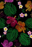 Tropical embroidery flower arrangement. Exotic plant blossom summer jungle. Fashion print textile patch. Hawaii hibiscus plumeria. Monstera seamless Royalty Free Stock Image