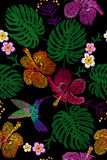 Tropical embroidery flower arrangement. Exotic plant blossom summer jungle. Fashion print textile patch. Hawaii hibiscus plumeria. Monstera hummingbird seamless stock illustration